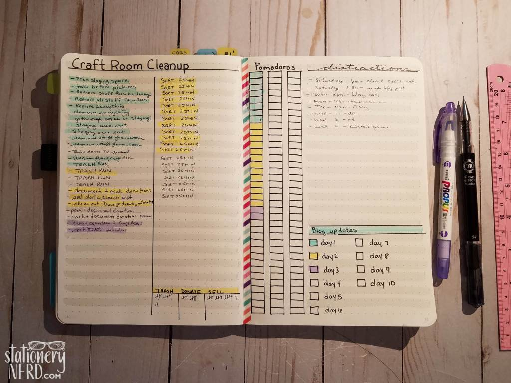 Bullet journal cleaning spread