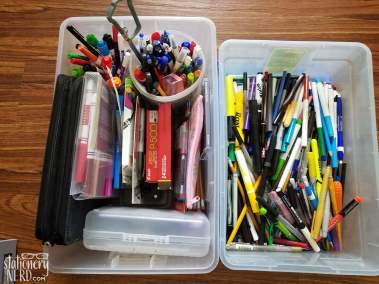 baskets of pens
