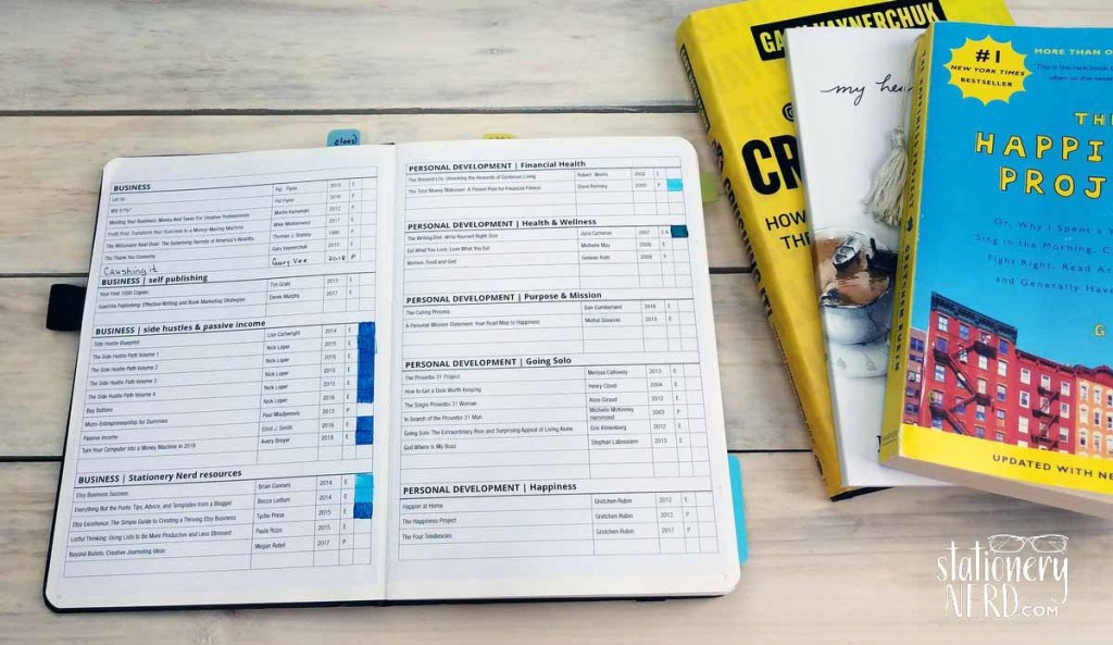 bullet journal book tracker