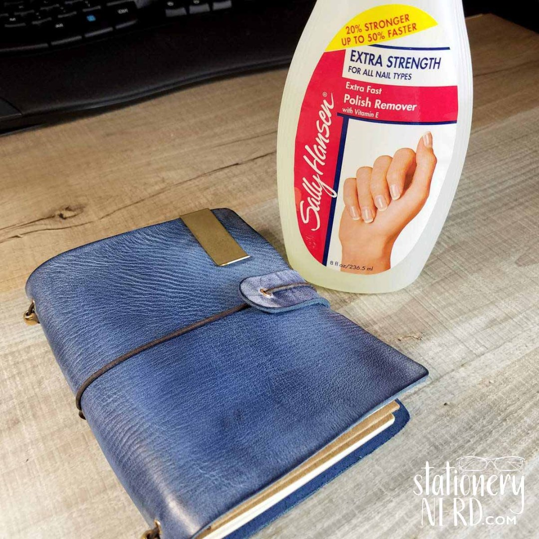 nail polish remover on leather