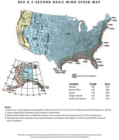 REV G Wind Speed Map (from Rohn, Inc. Website)