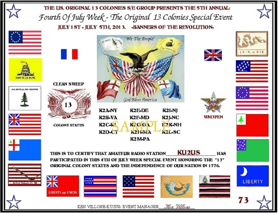 13 Colonies Special Event Certificate
