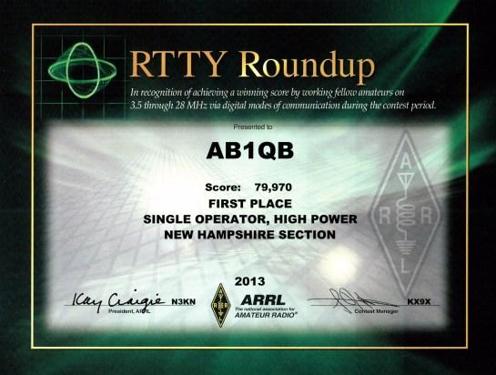 AB1QB 2013 ARRL RTTY Certificate