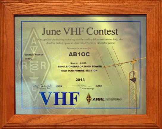 Fred's (AB1QB) First Place Finish in NH – 2013 ARRL June VHF Contest