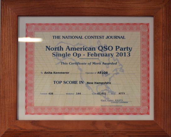 Anita's (AB1QB)'s First Place NH Finish - 2013 (RTTY) North American QSO Party