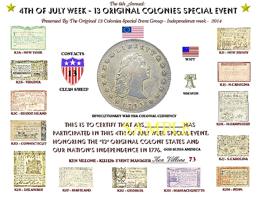 2014 Thirteen Colonies Special Event Certificate
