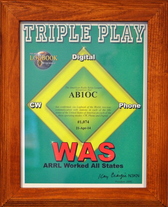 ARRL Worked All States Triple Play Award