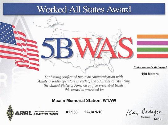 5 Band WAS Operating Award