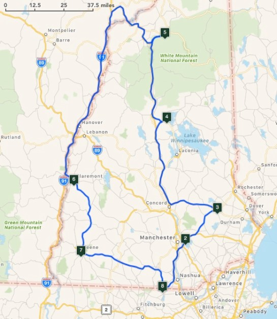 Planned 2017 NH QSO Party Route
