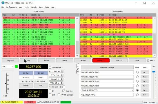 MSK144 QSO with WA3LBI Using WSJT-X