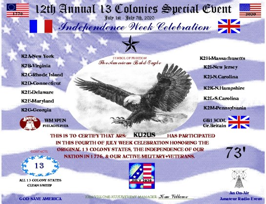 2020 13 Colonies Special Event Certificate