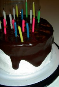 Photograph of candles on a birthday cake.