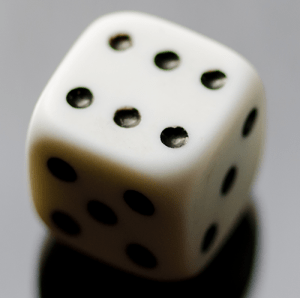 Photo of a die for the binary distribution examples.