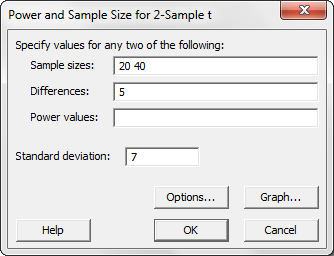 Power and sample size analysis dialog box for a one-side 2-sample t-test.