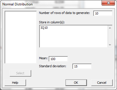 Dialog box for creating the simulated data.