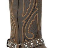 Photograph of a cowboy boot with straps.