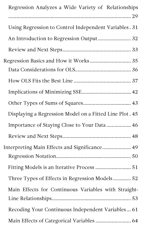 Table of contents page 2 for Regression Analysis: An Intuitive Guide