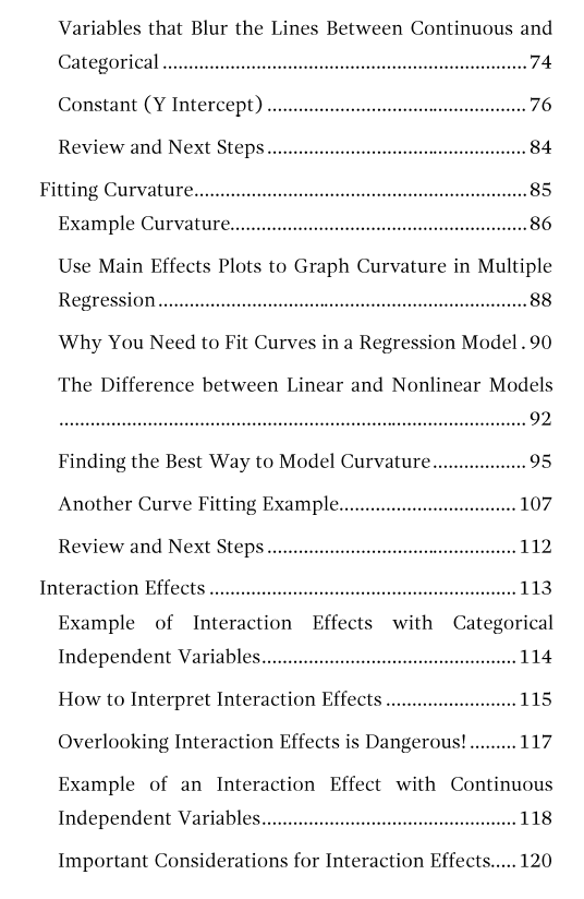 Table of contents page 3 for Regression Analysis: An Intuitive Guide.