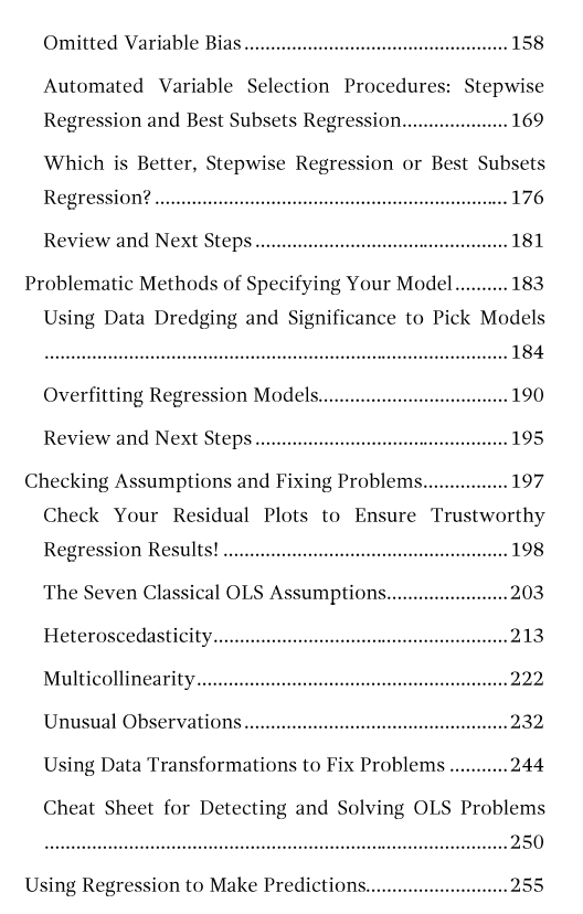 Table of contents page 5 for Regression Analysis: An Intuitive Guide