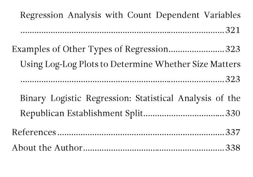 Table of contents page 7 for Regression Analysis: An Intuitive Guide.