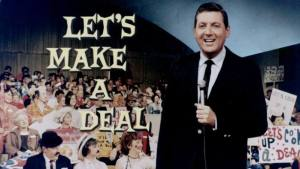 Photograph of Monty Hall on the TV game show, Let's Make a Deal.