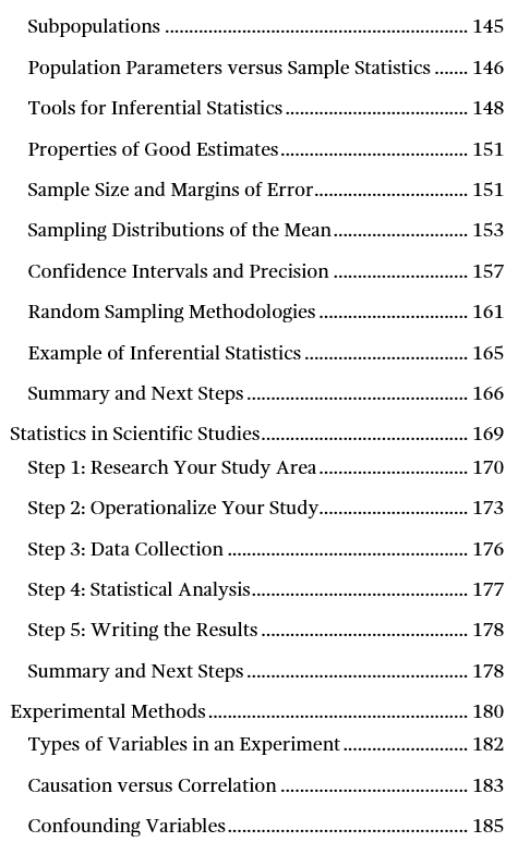 Image of page four for the table of contents for Introduction to Statistics: An Intuitive Guide.