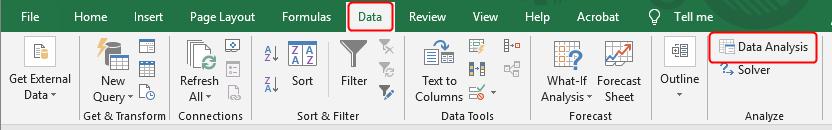Excel menu with Data Analysis ToolPak.