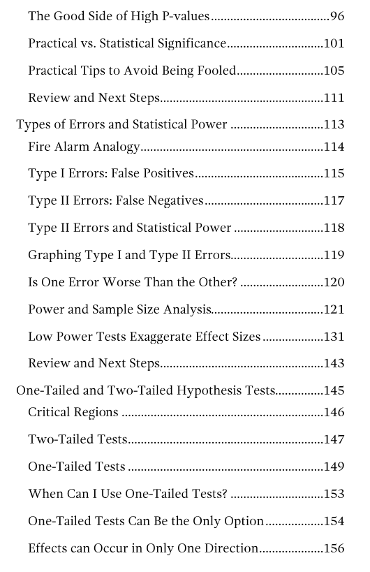 Third table of contents page for hypothesis testing ebook.