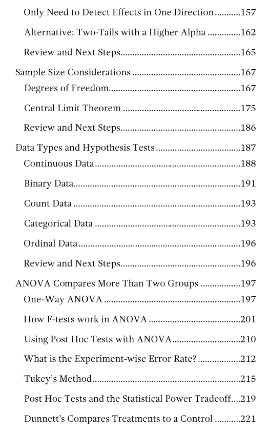 Fourth table of contents page for hypothesis testing ebook.