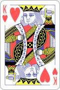 King of hearts card to represent probabilities of drawing cards from a deck of cards.