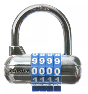 Photograph of a combination lock with four digits.