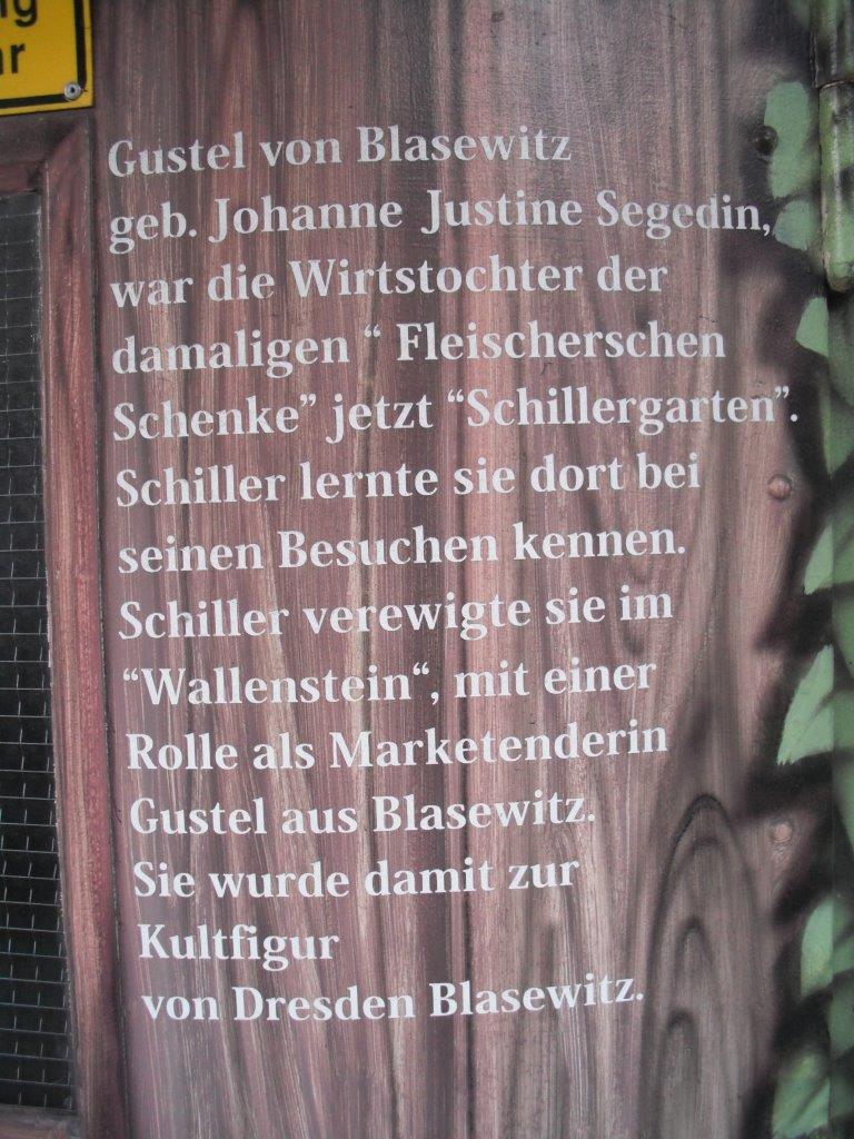 Erläuterung zur Gustel aus Blasewitz auf dem Schillerplatz in Dresden