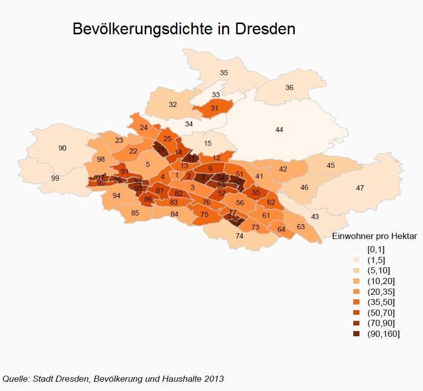 Bevölkerungsdichte in Dresden: Visualisierungsbeispiel mit R (Choroplethenkarte)