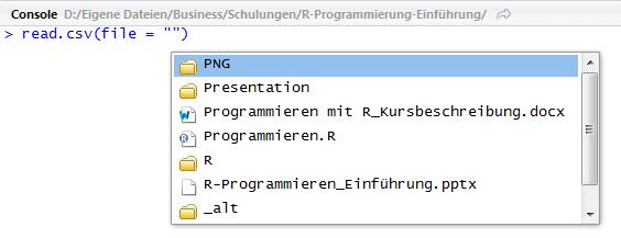 RStudio Kontextmenü Funktion