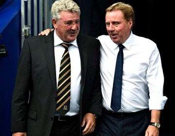 Harry Redknapp, right, with his opposite number, Steve Bruce, before QPR versus Hull City.