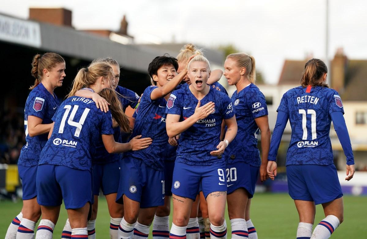 Chelsea Women celebrate scoring