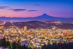Portland, Oregon, at sunset. (Mt. Hood in the background)
