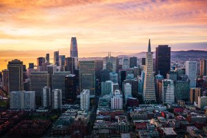 San Francisco skyline at sunrise.