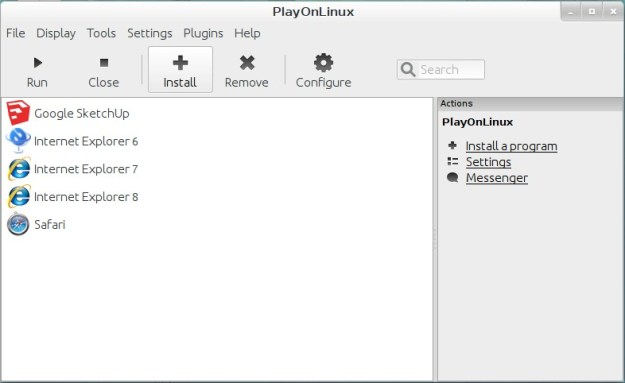 Start PlayOnLinux and hit the Install button.