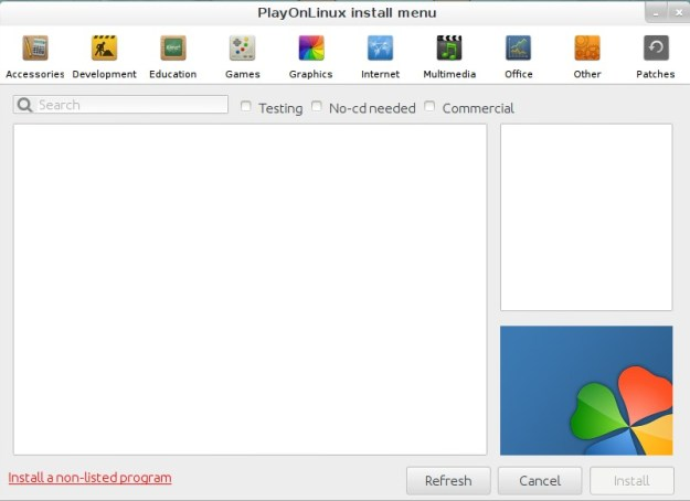 """Click """"Install a non-listed program"""" to start the installation."""