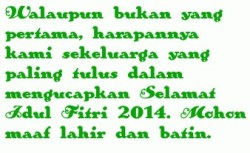 Kata Kata Untuk Ucapan Selamat Lebaran Hari Raya Idul Fitri 2014