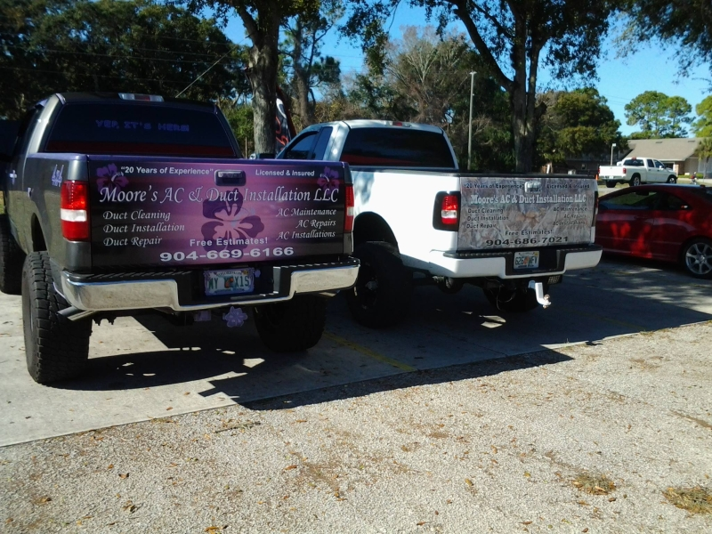 moore's ac & duct installation tailgate wraps