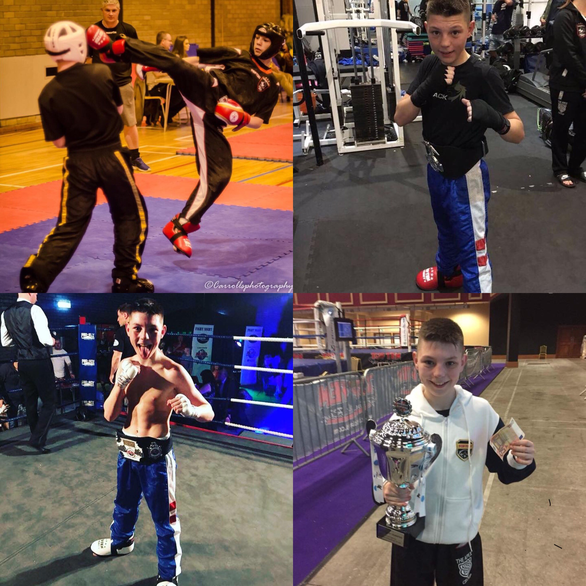 Photo montage of Adam training and in competition.