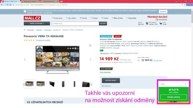 Upozornění přímo na webu e-shopu