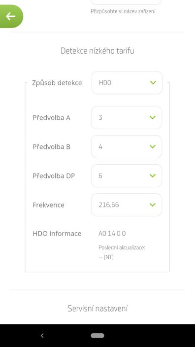 Nastavení parametrů HDO v aplikaci SmartBoiler