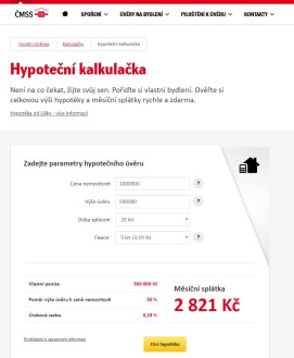 Hypoteční kalkulačka ČMSS