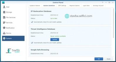 Aktualizace systémových databází routeru Synology RT2600ac