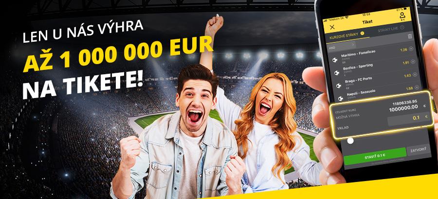 Stávková kancelária Fortuna €1,000,000 výhra na tikete