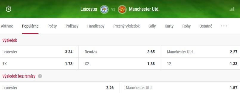 kurzová ponuka Leicester – Manchester Utd. Doxxbet