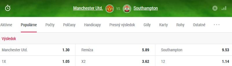 Tipovanie zápasu Manchester Utd. - Southampton kurz DOXXbet